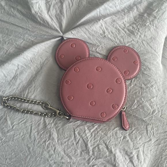 Coach Minnie Mouse pink polka dot wristlet